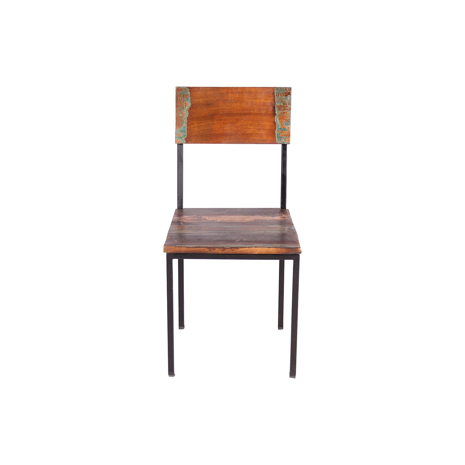 Contemporary Old Reclaimed Natural Hand Finish Wood and Metal Chair - Set of 2
