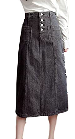 Cromoncent Womens Button Down Side Tie Pleated High Waist Bodycon Denim  Skirt Black X-Small 903d4ace2d