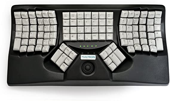 Maltron, Teclado ergonómico de Dos Manos Trackball Negro USB ...