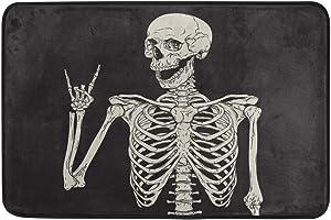 Halloween Doormat Home Decor Non Slip Washable Rock and Roll Skeleton Skull Boho Hippie Indoor Outdoor Entrance Bathroom Door Floor Mats Halloween Party Decorations Supplies,23.6 x 15.7 inch