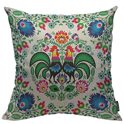 Mugod Poland Flowers Throw Pillow Cover Polish Floral Folk Art Square Pattern with Rooster Decorative Square Pillow Case for Home Bedroom Living Room Cushion Cover 18x18 Inch