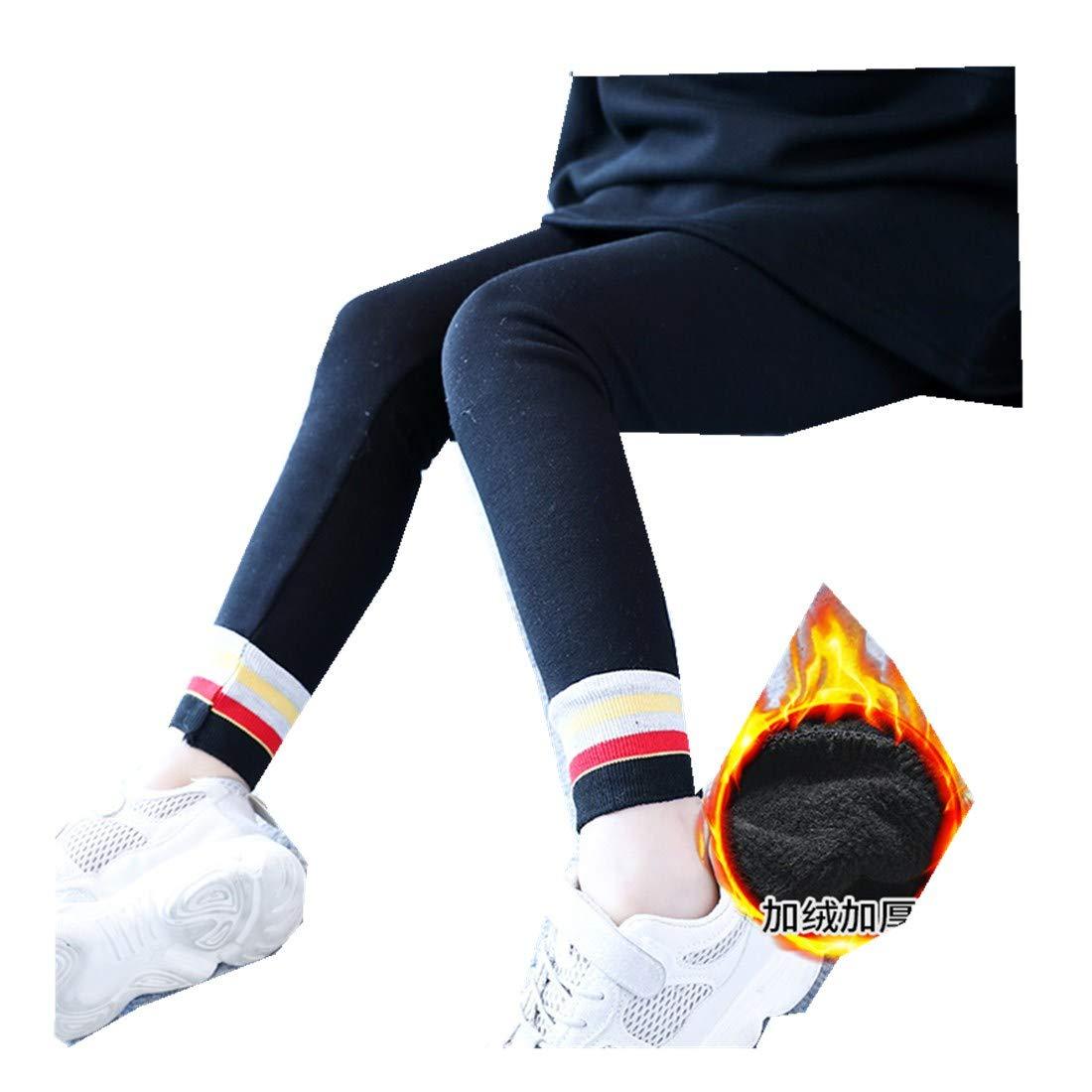 MV Girls Winter Thickening Velvet Leggings Trousers Feet Striped Slim Kids Pants