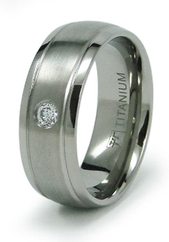 Tianyi 8mm Titanium Rings Black Domed Two Tone Polish Wedding Engagement Band for Men Women