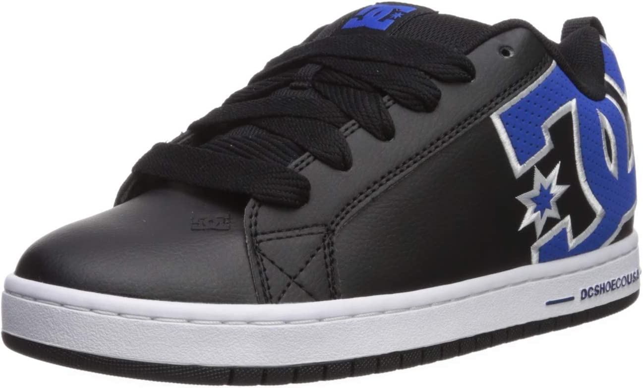DC Mens Court Graffik Se Skate Shoe Black//Blue 9.5 M US
