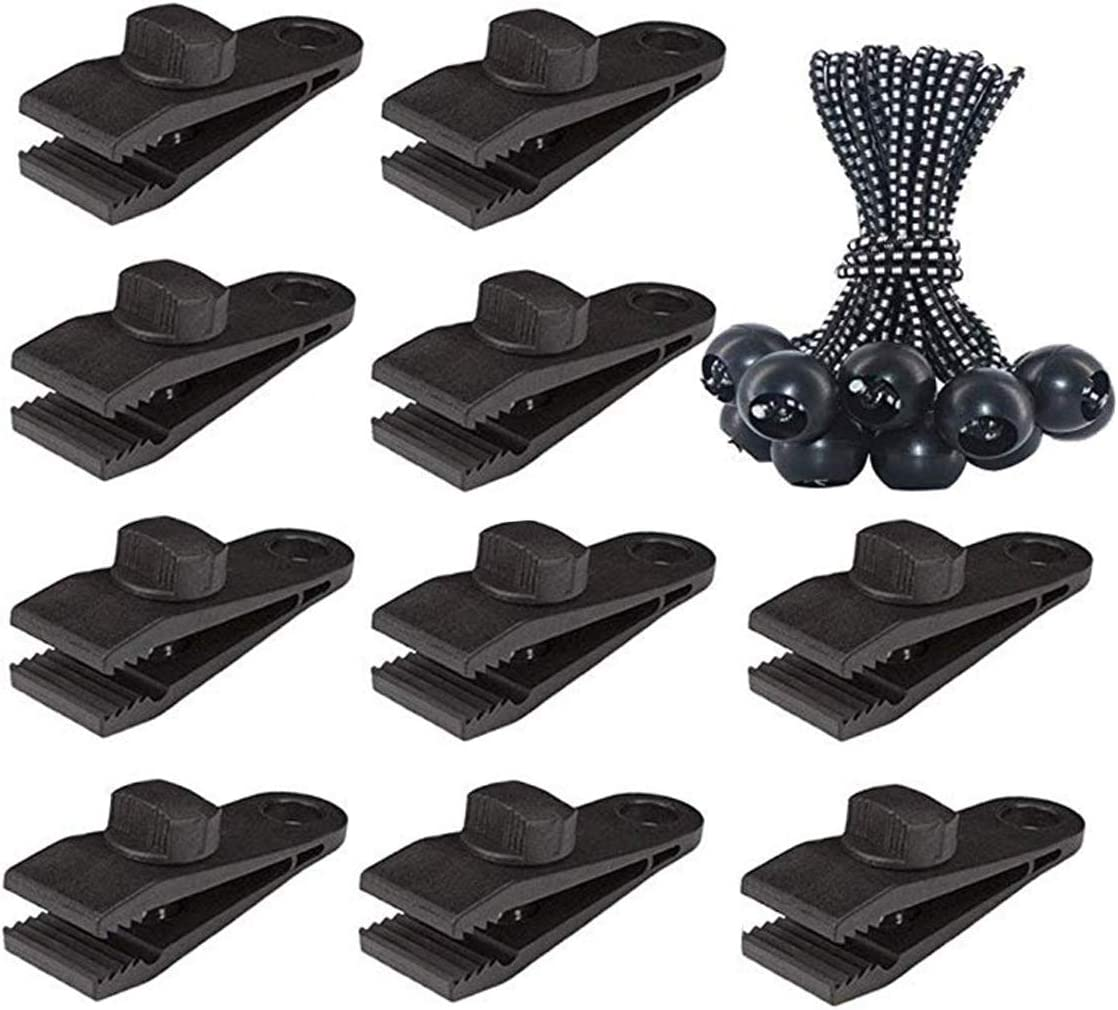 Clamp Tarp Clips,20Pack Reusable Heavy Duty Tarp Clip Awning Clamps Lock Grip Tarpaulin Clips Set with Bungee Balls for Outdoors Camping Tarps Caravan