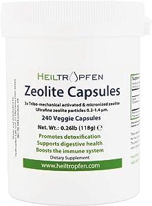 Zeolite 240 Capsules | Detox | Clinoptilolite 95% | 3X Activated | Natural Mineral Dust Less-Than 2 µm | Heiltropfen®
