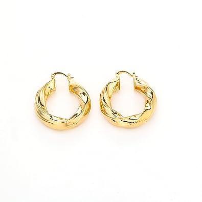 0a09fbe8341e4 Amazon.com: 24K Gold Twist Round Hoop Earring African Ethiopian ...