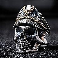 sirimongkol Fashion Mans World War Military cap Band Ring punk skull Biker Finger Rings (8)