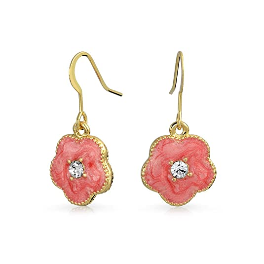 Bling Jewelry Gold Plated Crystal Red Enamel Clover Flower Dangle Earrings