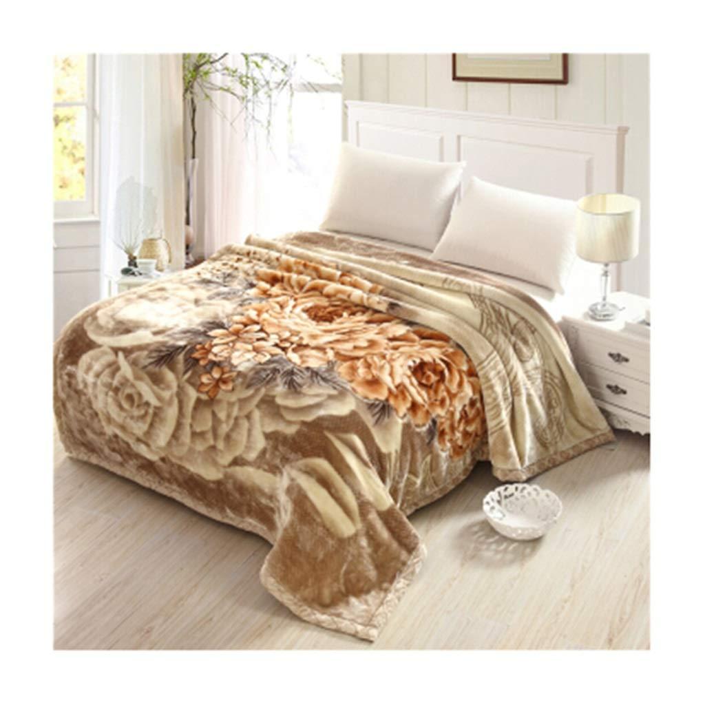 ラッセル毛布ダブルレイヤーソファ毛布秋と冬の暖かいパターンシリーズの毛布ソフトで柔らかい毛羽3-5 Kg 200 * 230cm (色 : Peony fairy coffee, サイズ さいず : 200*230cm 4.5kg) B07KMZ5LJJ Peony fairy coffee 200*230cm 4.5kg