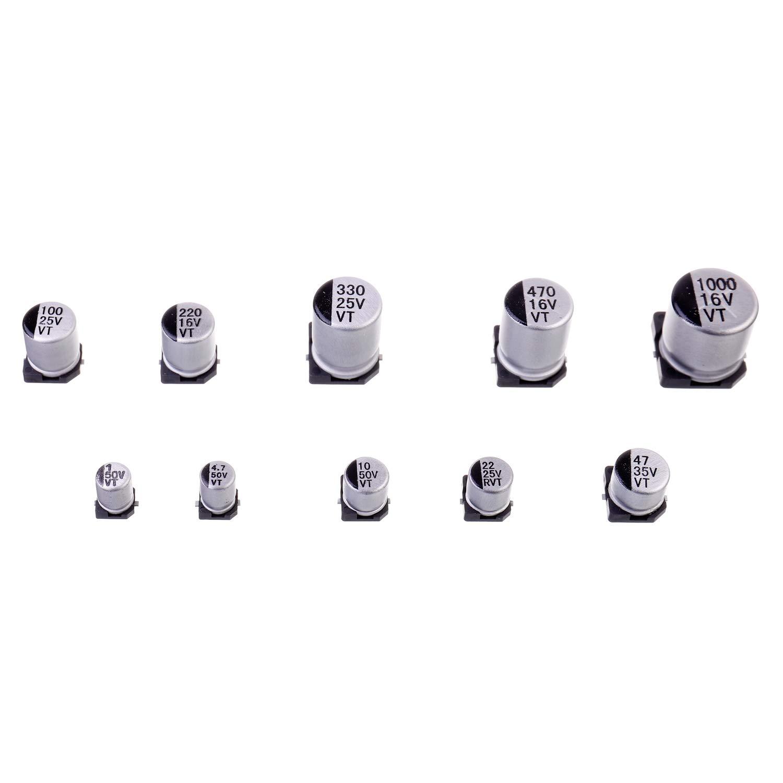 BOJACK 10 Valeurs 180 Pi/èces 1 uF ~ 1000 uF SMD Kit dassortiment de condensateurs /électrolytiques en aluminium