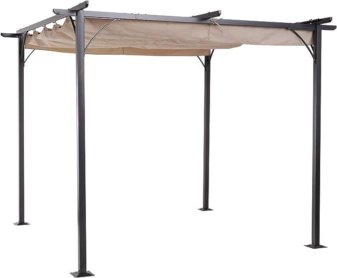 Outsunny Pérgola de Metal 3x3m Gazebo Cenador para Jardín Patio o Terraza con Techo Retráctil Tela Poliéster Resistente al Agua y UV
