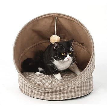 Cama para Gatos, Saco de Dormir Plegable para Mascotas, Cachorro de Gato, Túnel Universal para Gatos, Canasta para Perros Semiabierta,Beigeplaid,43 * 43 ...