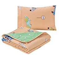 Janluxe Kids Weighted Blanket 7 Pounds Travel Blanket 100% Cotton with a Pillowcase,Car Cartoon Patterns