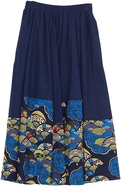 NiSeng Mujeres Vintage Faldas étnicas Largas Irregular Falda ...