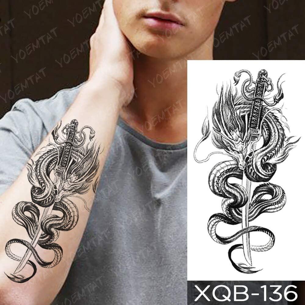 Jxaa Waterproof Tattoo Sticker Wolf Tree Rose Moon Tattoo Fox Clock Flower Body Art Arm Sleeve Women Men 13 Xqb136 Amazon Co Uk Kitchen Home