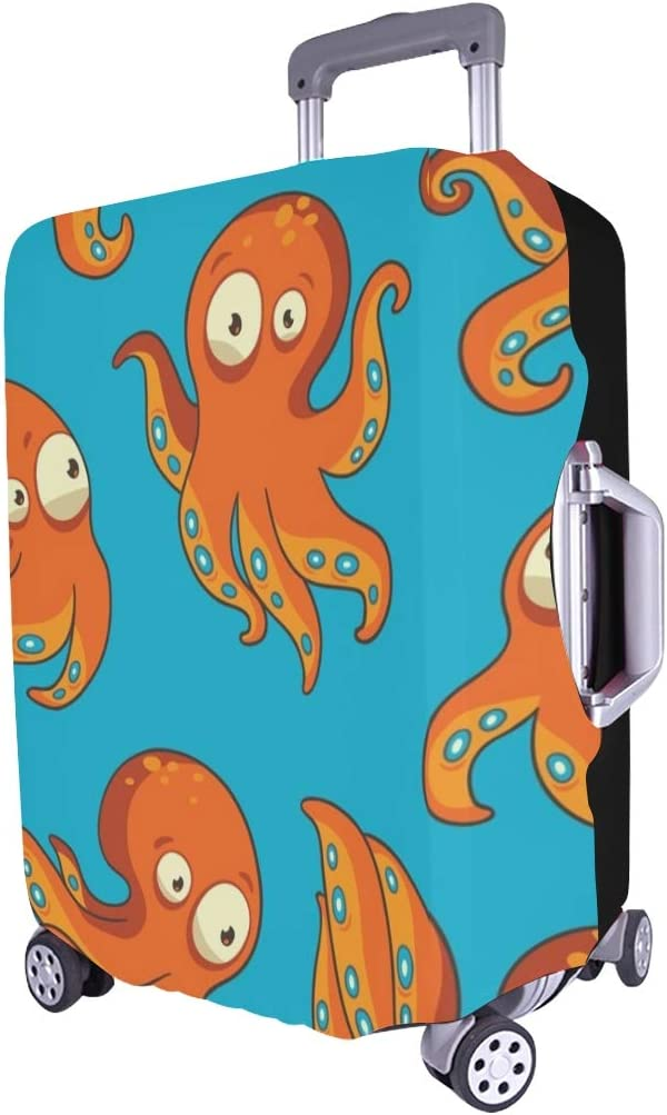 Octopus Blue Orange Colors Spandex Trolley Case Travel Luggage Protector Suitcase Cover 28.5 X 20.5 Inch