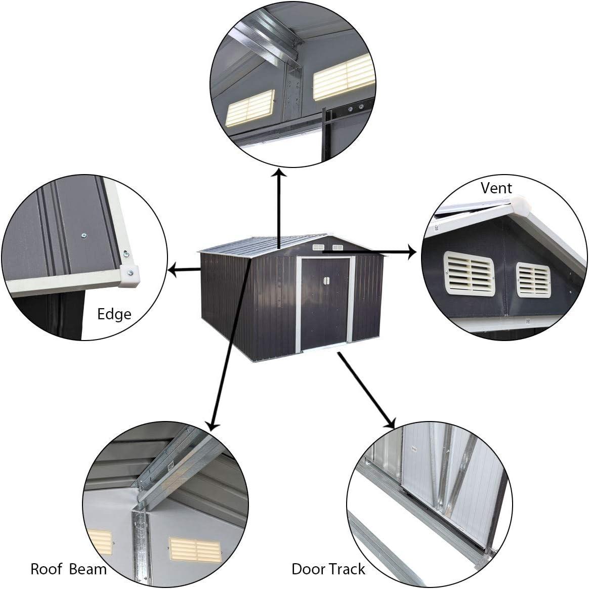 Dark Gray Lockable Sliding Door Rural Style Gable Roof JAXSUNNY 4.2 x 7 Outdoor Backyard Garden Patio Metal Storage Shed with Floor for Utility Tool Storage