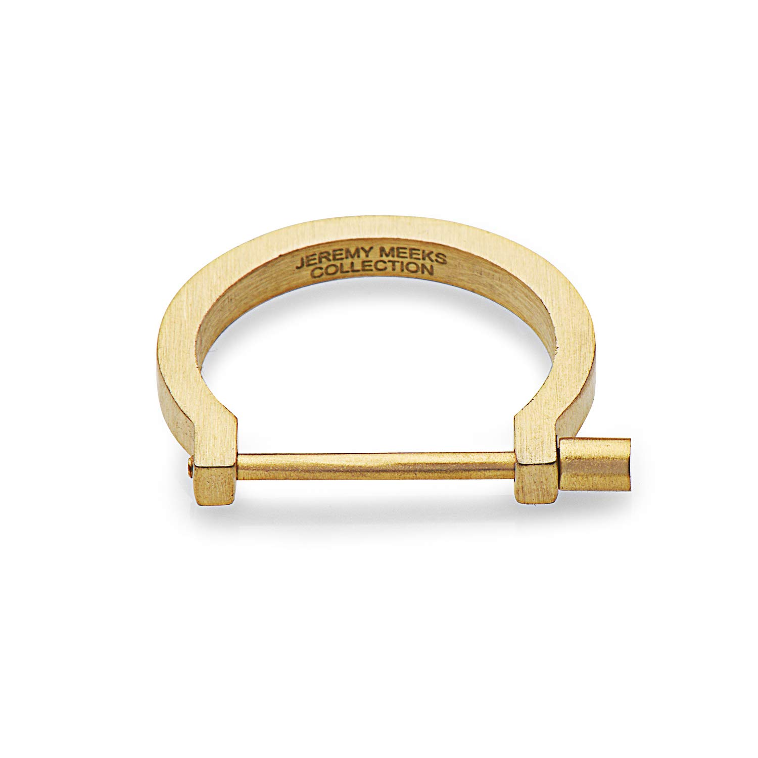 SEVEN50 Jeremy Meeks 4 in 1 Jewelry Collection - Modern Screw Cuff Rings, Matte Silver or Gold(Package Comes with 2 Rings and a Curb Chain) (Gold, 9)