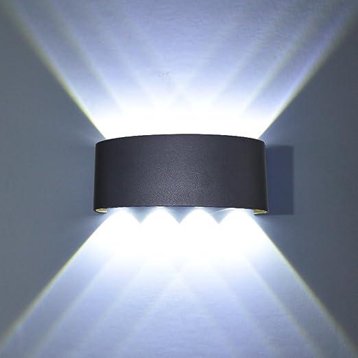 Luz Blanco C/álido LED Apliques de pared Modernos 8W Blanco Impermeable Ba/ñadores de Pared Aluminio Luz para dormitorio Interior Exterior Decoraci/ón del Hogar Pasillo Entrada