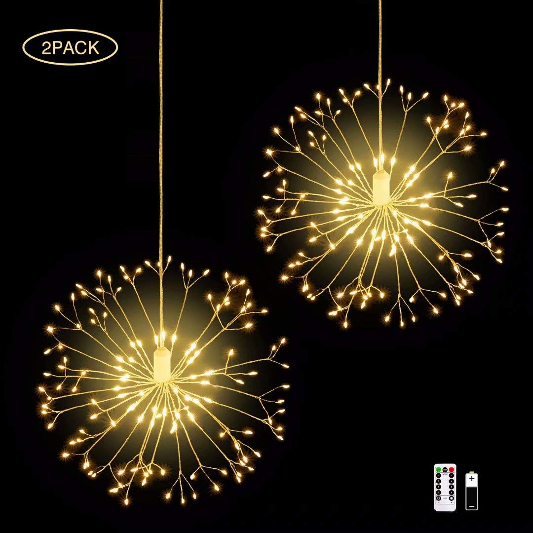 IZZIE LED Firework Lights 2 Pack 8 Modes Dimmable Battery Operated Hanging Starburst Lights with 198 LED Outdoor Christmas Lights DIY Copper Wire Lights for Parties Home Outdoor Decoration