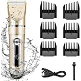 Electric Hair Clippers for Men Quiet LED Display Cordless Rechargeable Hair Trimmers Set, IPX7 Waterproof Haircut Barber Trimmer Kit with Hairdressing Cape