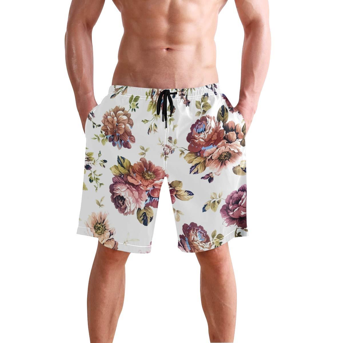 DEYYA Peony Flower Summer Beach Shorts Pants Mens Swim Trunks Board Short for Men