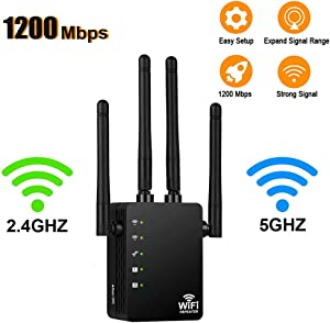 [Upgraded 2020] WiFi Range Extender - 1200Mbps WiFi Repeater Wireless Signal Booster, 2.4 & 5GHz Dual Band WiFi Extender with Gigabit Ethernet Port, Extend WiFi Signal to Smart Home & Alexa Devices