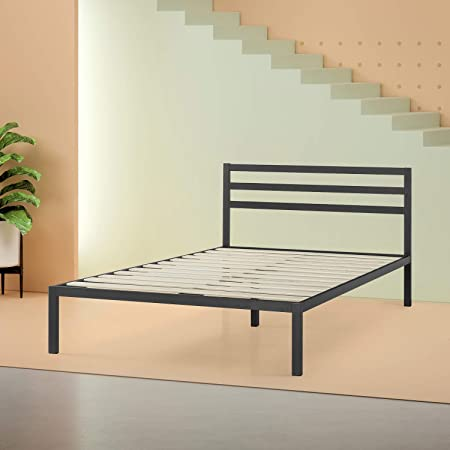 Zinus Mia Modern Studio 14 Inch Platform 1500H Metal Bed Frame / Mattress Foundation / Wooden Slat Support / With Headboard, King