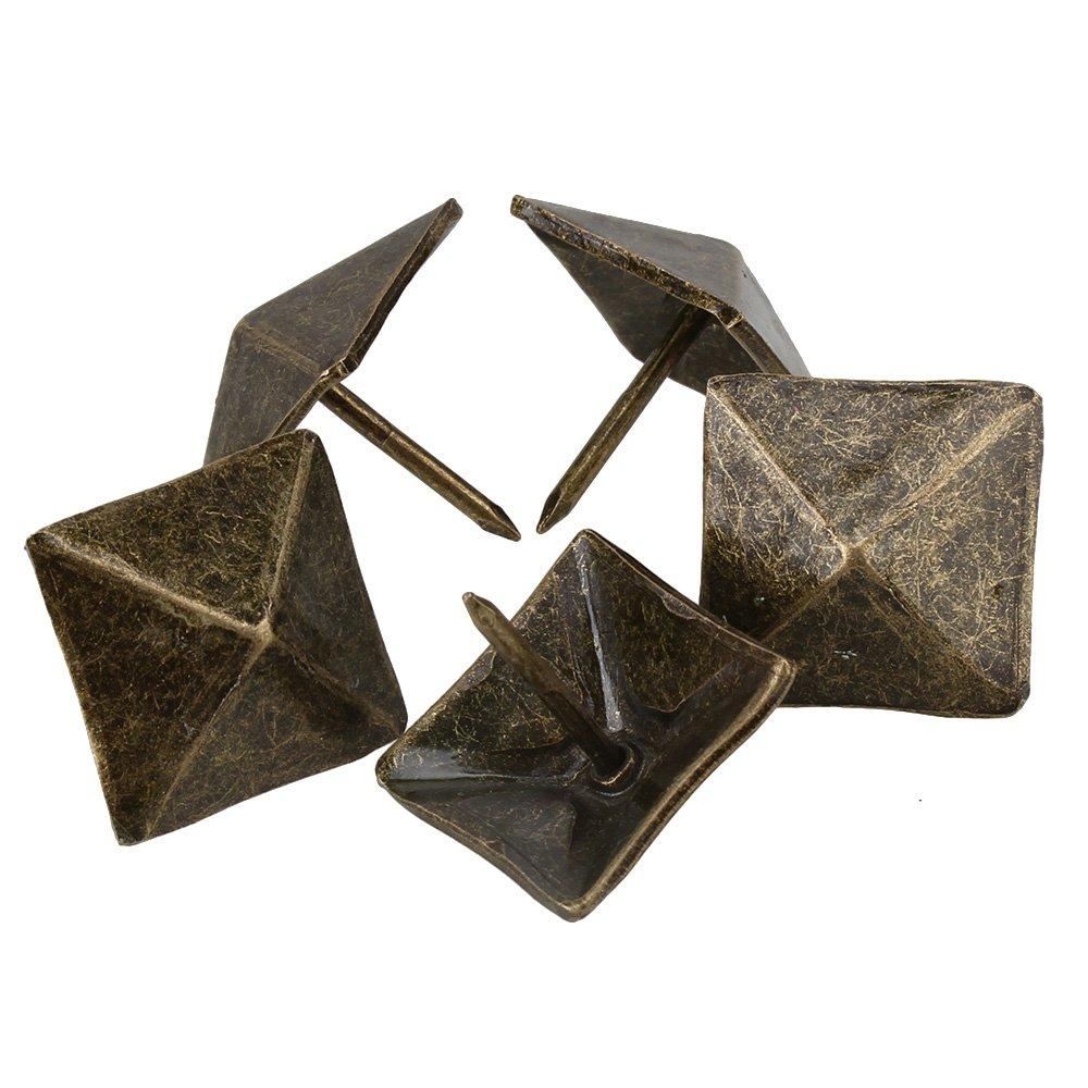 Clous de tapisserie dameublement carr/és antiques en bronze clous de goujon pyramidaux meubles vintage 19 x 21 mm paquet de 50