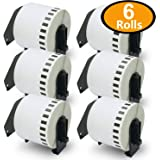 6 Rolls Brother-Compatible DK-22205 62mm x 30.48m Continuous Length Paper Tape Labels With Refillable Cartridge