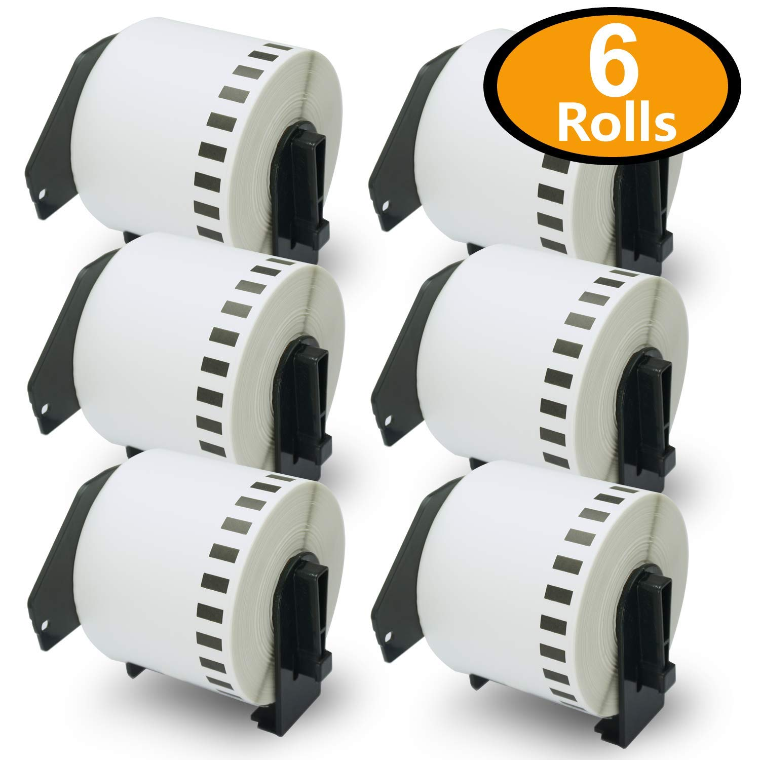 6 Rolls Brother-Compatible DK-2205 62mm x 30.48M(2-3/7'' x 100') Continuous Length Paper Tape Labels With Refillable Cartridge
