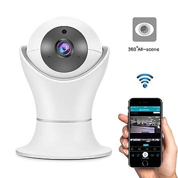 Cámara IP Wi-Fi, ABEDOE 2.0MP 360 grados 1080P FHD monitor panorámico para