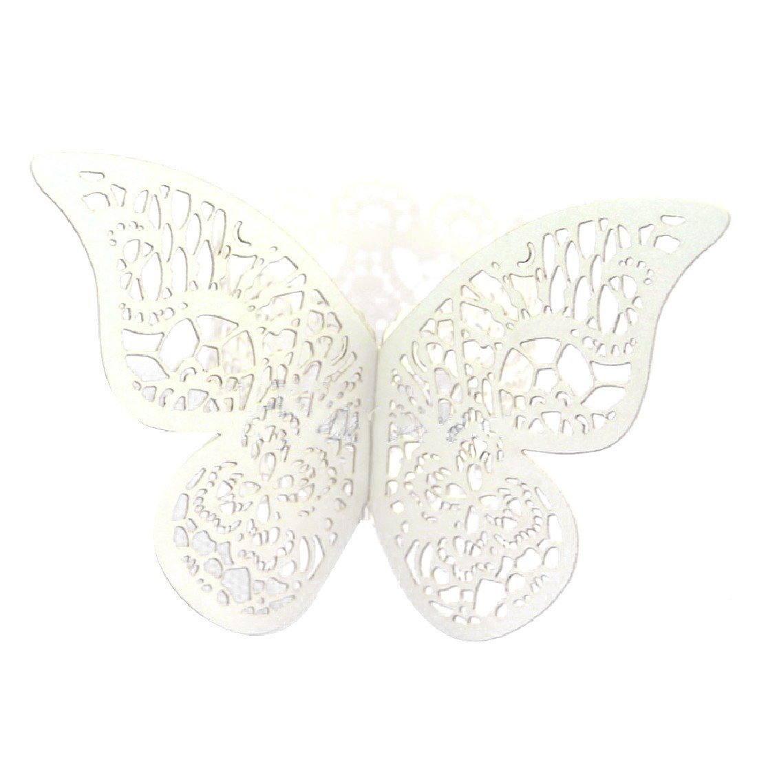 12pcs Pearlescent Paper Butterfly Napkin Ring Wedding Party Serviette Decor rongwen