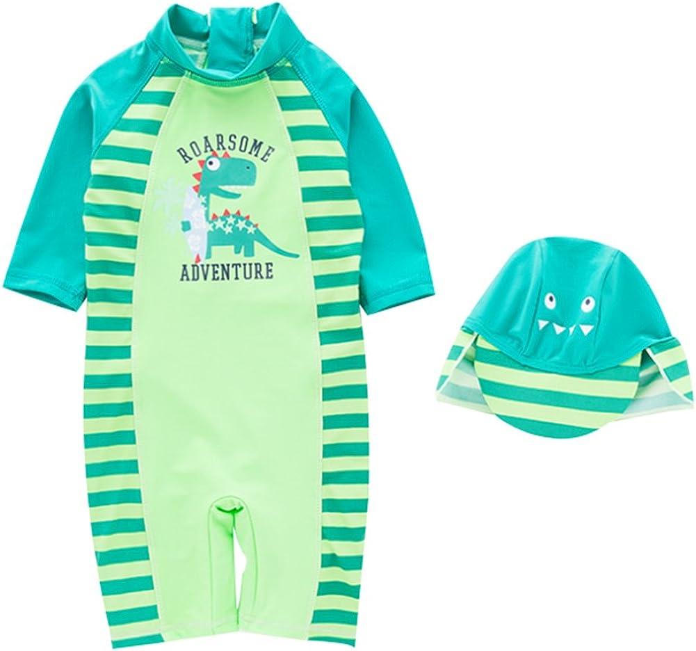 Happy childhood Baby Boy One Piece Swimwear UPF50 Beach Rush Guard Dinosaur Swimsuits With Sun Hat