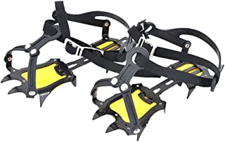 MeanHoo Antiskid Steel-point Ice Climbing Hiking Crampon Traction Device Strap Type Crampons Ski Belt High Altitude Hiking Slip-resistant 10 Teeth Mountaineering Traction Cleats 250x95x3mm,Medium Size
