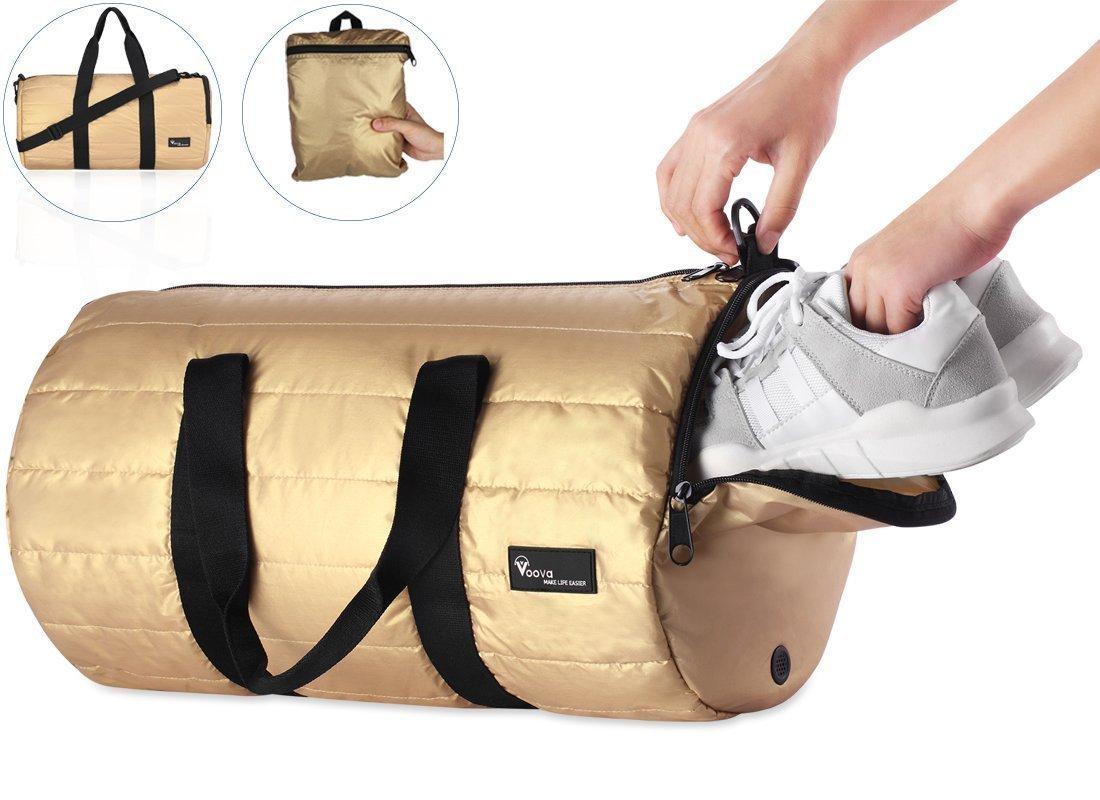 VOoVAスポーツダッフルバッグ荷物の女性メンズ18インチのジム旅行ビジネスwith ShoeコンパートメントスポーツTravel Duffel Bag Luggageレディースメンズ18インチ用 B06Y663P4N  ゴールド