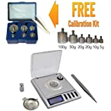 Portable High Precision Milligram Digital Scale 20g x 0.001g for Weighing Gems,jewelry other Precious Objects + FREE Calibration Weight Kit - Class M2