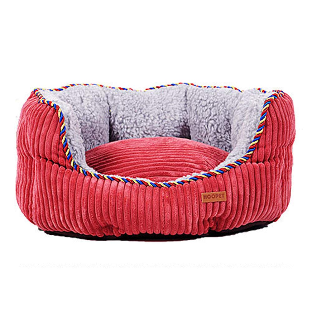 Diameter 60CM LXLA  Warm Luxury Dog Bed with Fleece Lined and Corduroy Sides, Removable Washable & Nonslip (Size   Diameter 60CM)