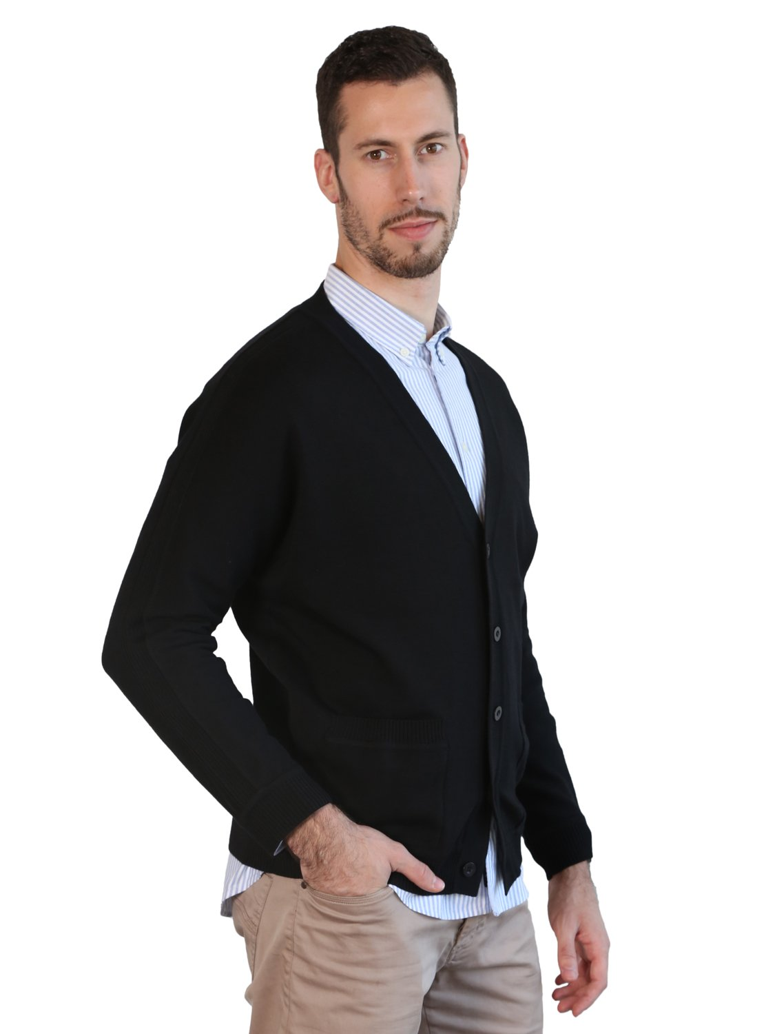 MARMO DI CARRARA Mens Black Cardigan 100% Merino Wool Knitted Classic Sweater V-Neck Button UP