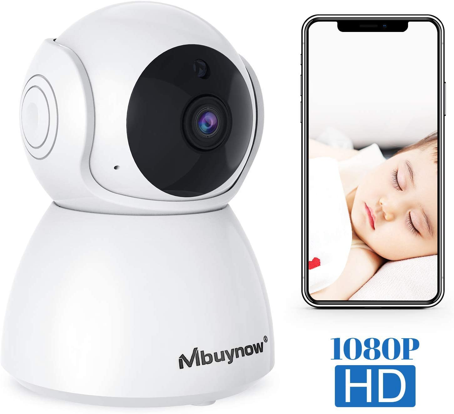 WiFi IP Home Camera, Mbuynow Wireless 1080P Home Indoor Security Surveillance Camera Nanny Cam for Elder Baby Pet Nanny Monitor with PTZ Motion Detection Night Vision 2-Way Audio Cloud-Storage