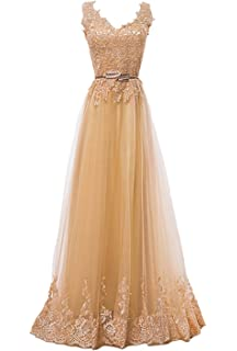 Fanhao Womens Embroidery Plume Belt Lace-up Gold Long Prom Bridesmaid Dress