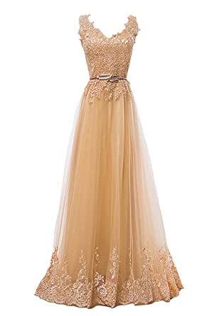Fanhao Womens Embroidery Plume Belt Lace-up Gold Long Prom Bridesmaid Dress ,Golden,