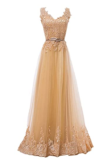 Fanhao Womens Embroidery Plume Belt Lace-up Gold Long Prom Bridesmaid Dress,Golden,