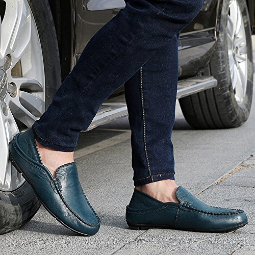 Casual for Leather Shoes Fleece Loafers Driving Men's Business fereshte Winter Breathable Blue Flat Cowhide Slippers WqnggSI7