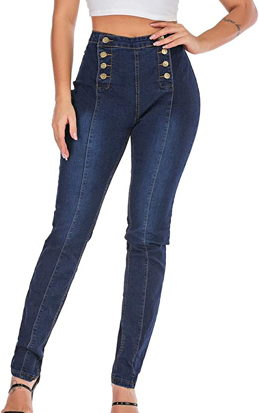 Women/'s Denim Button Up High Waist Skinny Jeans Slim Fit Stretch Casual Pants