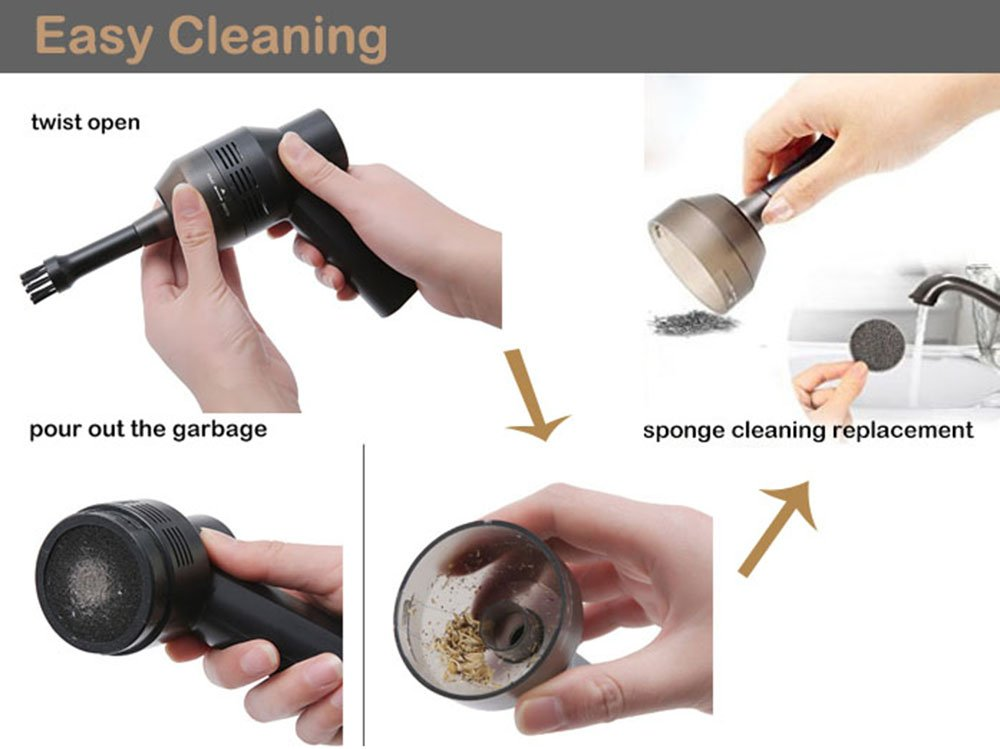 Keyboard Cleaner Powerful Rechargeable Mini Vacuum Cleaner,Cordless Portable Vacuum-Best Cleaner Tool for Cleaning Dust, Hairs, Crumbs, Scraps for Laptop, Piano, Computer, Car, Makeup Bag, Pet House by Dealsboom (Image #6)