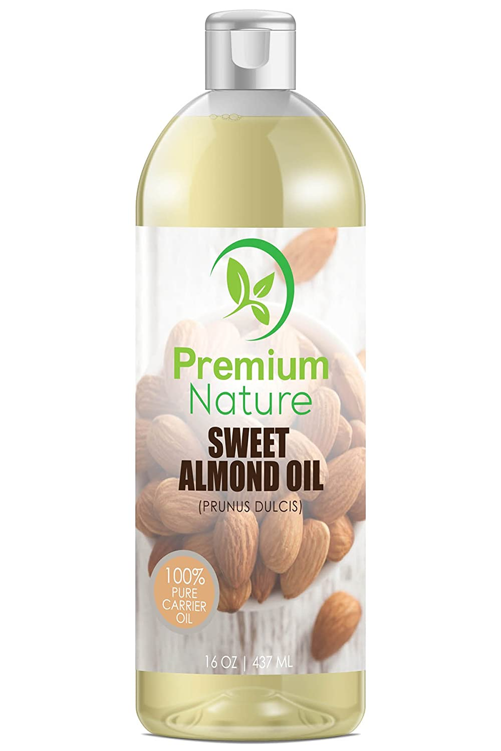 Sweet Almond Oil Carrier Oil - Cold Pressed Pure Natural Body Massage Oils for Essential Oils Mixing, Baby Oil Dry Skin Face Moisturizer Eye Makeup Remover Healthy Nails Cleansing Properties 16 oz Premium Nature