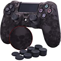 YoRHa Water Transfer Printing Skull Silicone Cover Skin Case for Sony PS4/slim/Pro Dualshock 4 Controller x 1(grey) With Pro thumb grips x 8