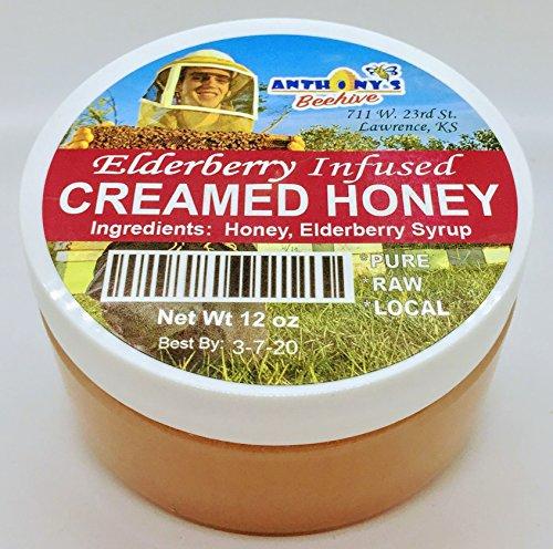 - Raw Pure Gourmet Elderberry Infused Creamed Honey 12 oz jar